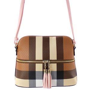 Handbags - BLUSH INSPIRED LEATHER PLAID CROSSBODY/ MESSENGER
